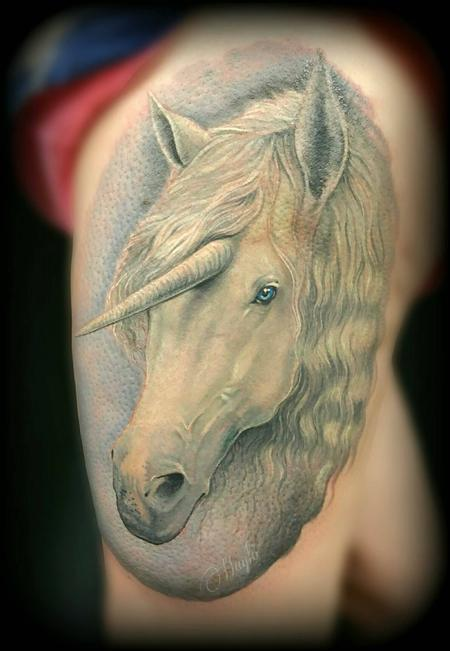 Haylo - Unicorn thigh tattoo
