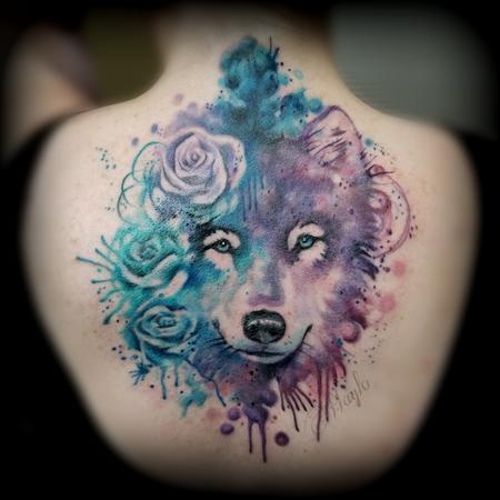 Haylo - Wolf watercolor style tattoo by Haylo