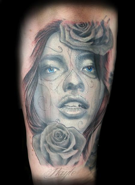 Tattoos - Black and gray Day of the Dead girl with roses - 119724