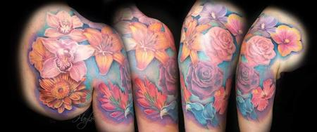 Haylo - Beautiful floral arrangement shoulder & 1/2 sleeve tattoo
