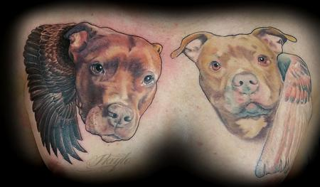 Tattoos - Pitbull portraits with wings - 119377