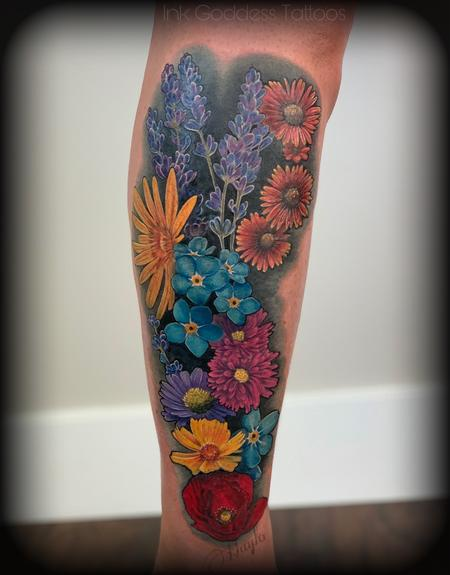 Haylo - Utah Wild Flower leg tattoo by Haylo
