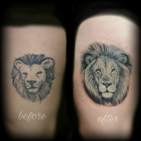 Tattoos - Realistic lion cover up tattoo  - 141097