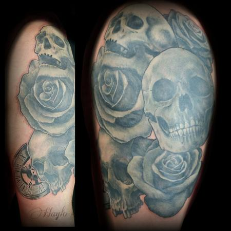Tattoos - Skull and roses black and gray tattoo  - 141080