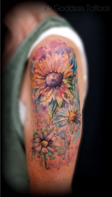 Haylo - Sunflower Watercolor tattoo by Haylo
