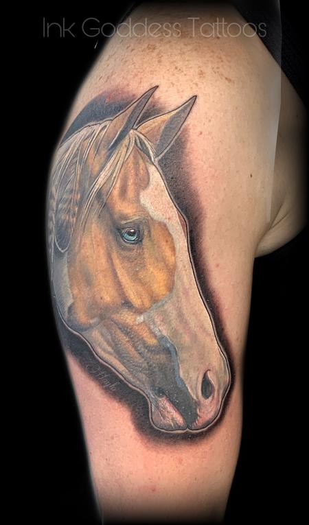 Tattoos - Palomino paint horse portrait  - 139968