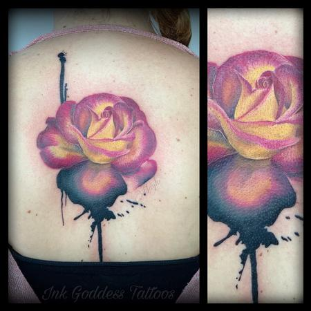 Tattoos - Realistic rose and ink drip tattoo by Haylo  - 141175