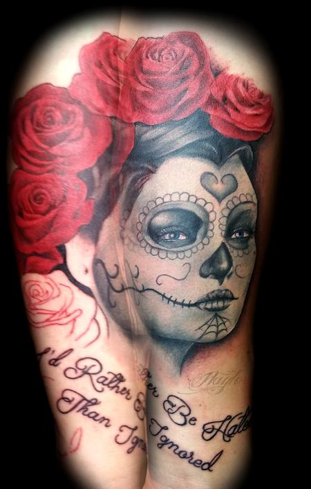 Tattoos - Day of the Dead girl with red roses and script - 119718