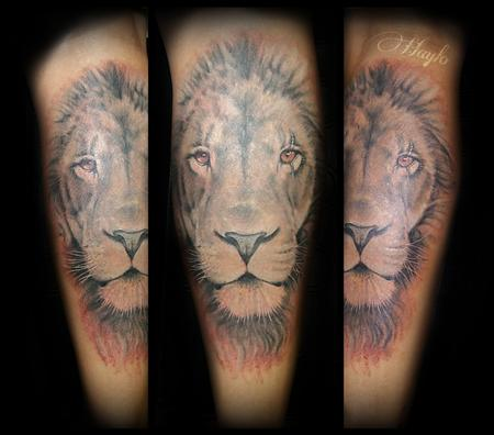 Tattoos - Realistic black and gray Lion - 119363