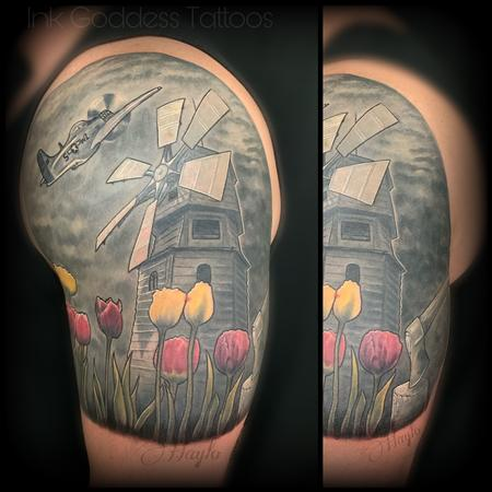 Tattoos - Holland, tulips, war plane, Windmill, custom half sleeve - 138848