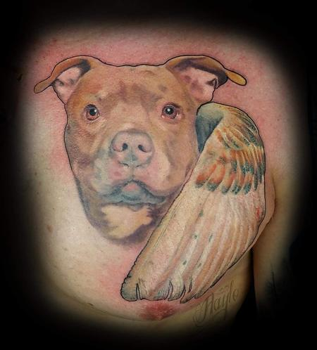 Tattoos - Pit bull memorial portrait with wings tattoo - 141102