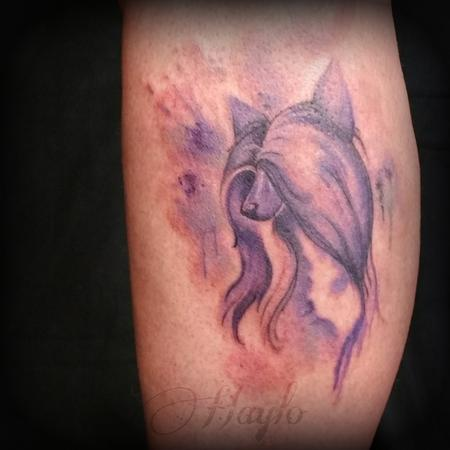 Haylo - Watercolor Chinese Crested dog tattoo by Haylo