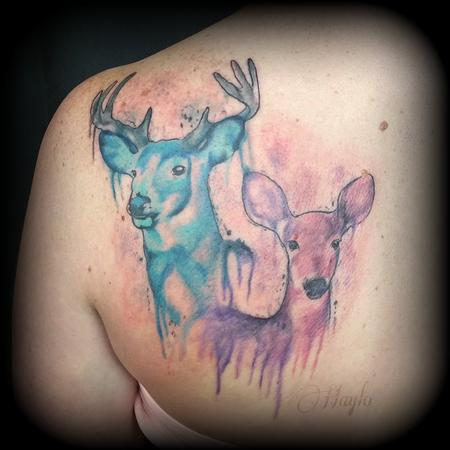 Haylo - Deer / Stag Watercolor Tattoo
