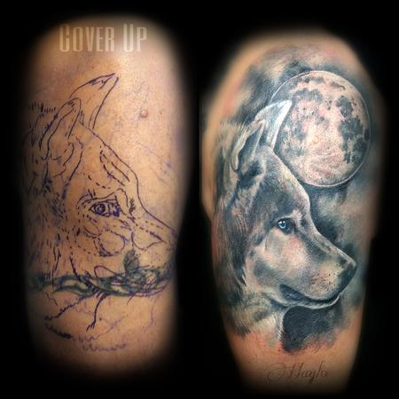 Tattoos - Wolf and moon cover up tattoo - 141083