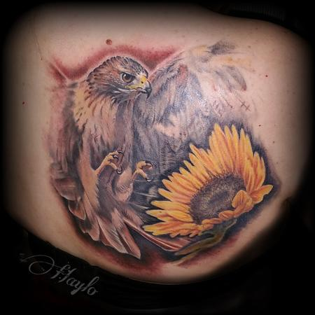Haylo - Red Tail Hawk and Sunflower by Haylo