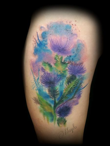 Tattoos - Thistle blossom watercolor style tattoo - 141084