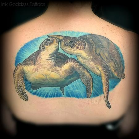 Tattoos - Realistic Sea Turtles In Love - 140833