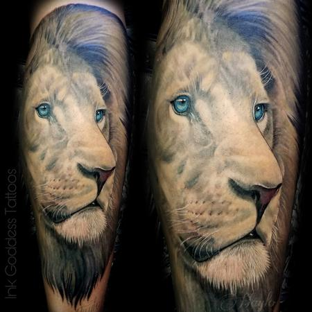 Haylo - Lion leg tattoo by Haylo