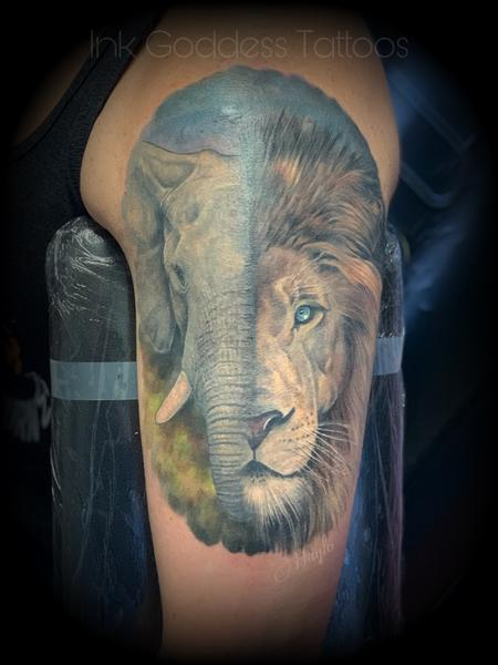 Tattoos - Elephant and Lion half sleeve  - 141184