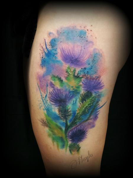 Tattoos - Watercolor style thistle thigh piece - 115137