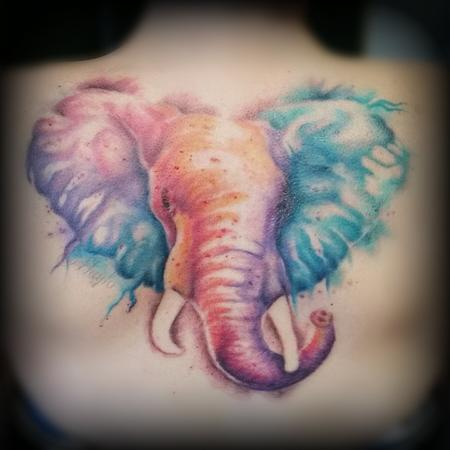 Tattoos - Watercolor Style Elephant Back piece - 126546