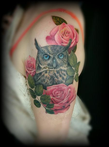 Tattoos - Realistic color owl with roses half sleeve custom piece - 126551