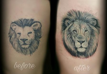 Tattoos - Realistic Black and Gray lion cover up  - 126549