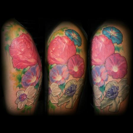 Tattoos - Realism Floral with Roses, morning glory, and jonquil with watercolor accents  - 103841