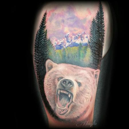 Tattoos - Progress of a realistic Grizzly with Tetons mountain range - 104392