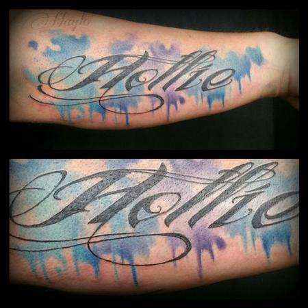 Tattoos - Custom Watercolor style piece with script - 104957