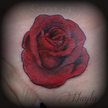 Tattoos - Cover up with Realistic style red rose - 104961