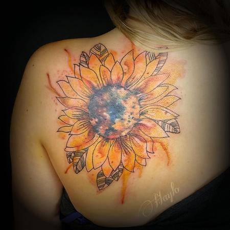 Tattoos - Watercolor style sunflower - 109722