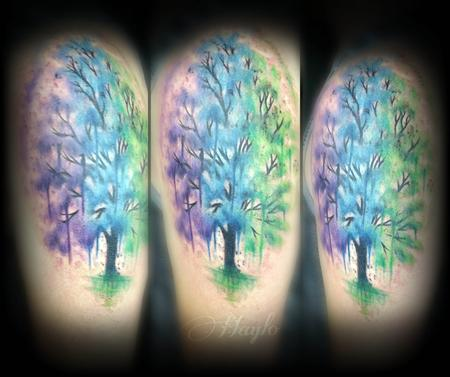 Tattoos - Custom watercolor style tree - 111915