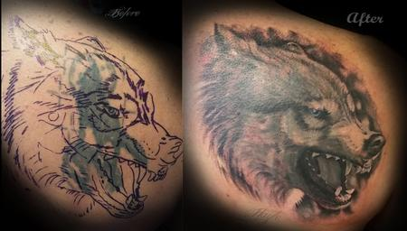 Tattoos - Realistic Wolf cover up - 111925