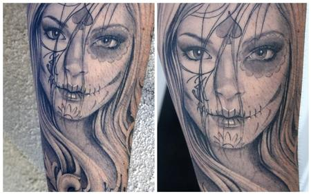 Tattoos - Day of the Dead girl portrait  - 75114