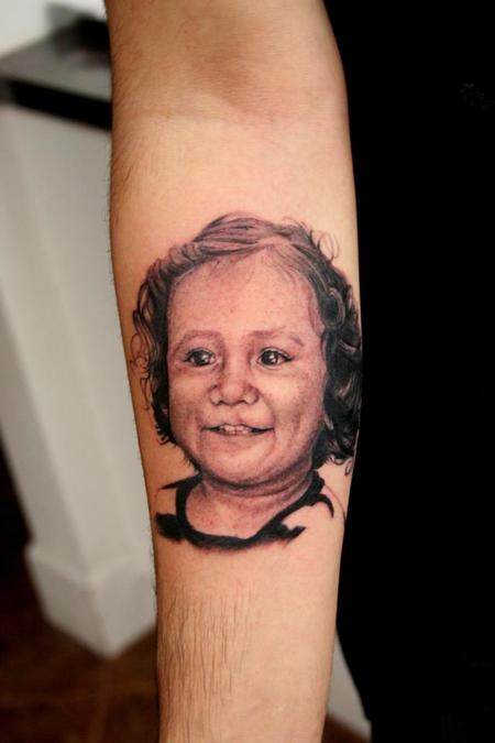 Tattoos - Black and Grey Portrait of a client's daughter - 74932