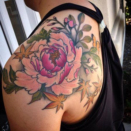Tattoos - Peony and floral shoulder piece - 108602
