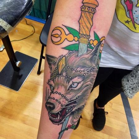 Tattoos - Wolf  and dagger  - 87443