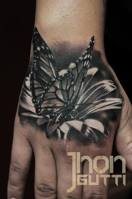 Tattoos - BUTTERFLY ON FLOWER - 103713