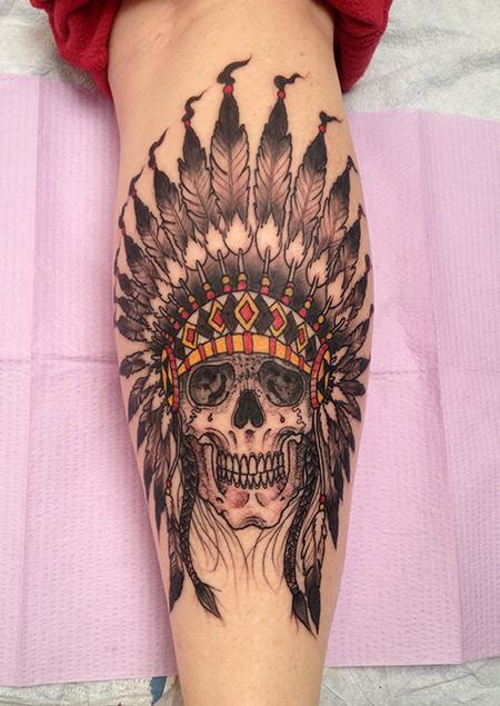 Tattoos - Native American Skull and Headdress Tattoo - 85950