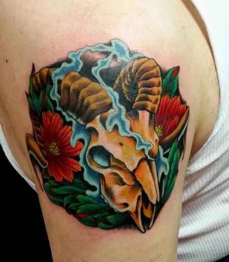 Tattoos - Ram Skull Tattoo - 119298