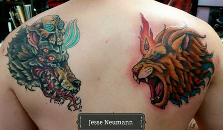 Tattoos - Wolf and Lion Tattoo - 119954