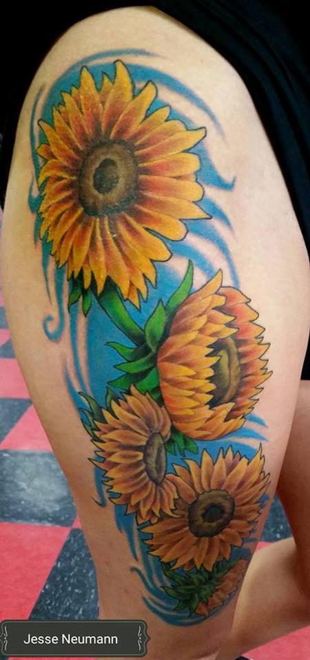 Tattoos - Sun Flower Tattoo - 119300
