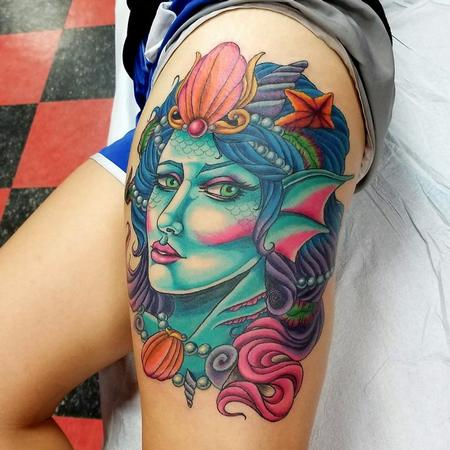 Jesse Neumann - Mermaid portrait tattoo