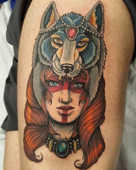 Tattoos - Wolf Headdress Woman - 132285