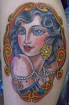 Claudia De Sabe - traditional girl tattoo