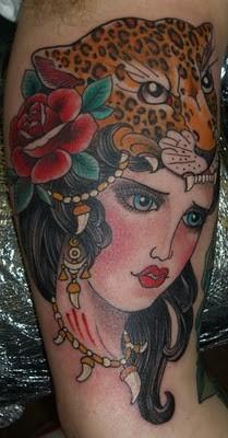 Tattoos - tiger girl tattoo - 52180