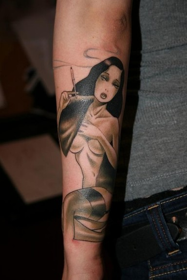 Tattoos - Black and Grey Pinup - 52207