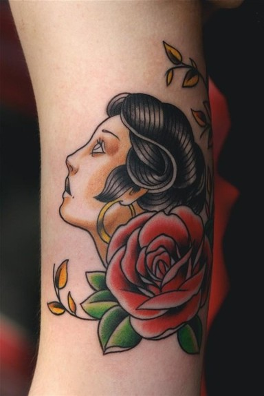 Tattoos - Traditional girl Tattoo - 52206