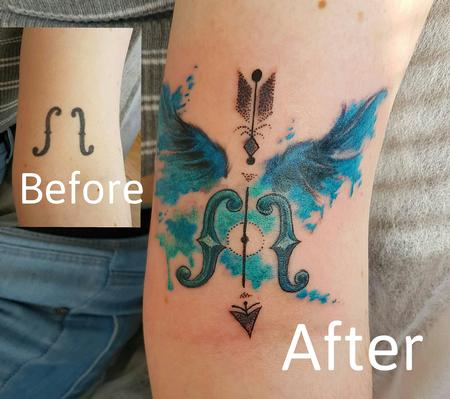 Tattoos - Watercolor Dotwork Wings Coverup Tattoo - 122353